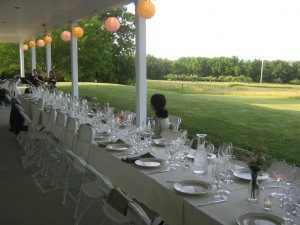 Dining with a view of the vineyards and lake.