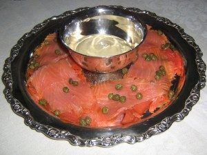 Gravlax with capers and mustard-dill sauce