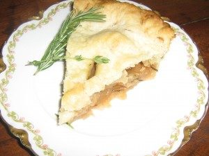 apple pie with rosemary and thyme