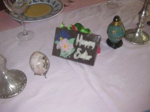 """Happy Easter"" chocolate bar center piece"